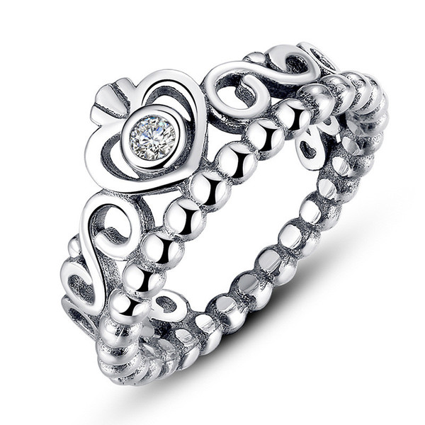 100% S925 Crown Ring for Valentine's Day Princess Sterling Sliver Rings With Box Pandora Style Wedding Engagement Ring Women Birthday Gift