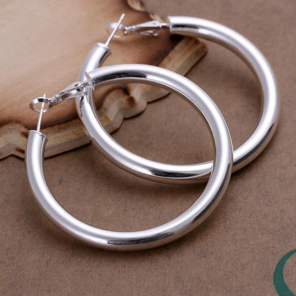 best selling Fashion 925 Sterling Silver EARRINGS 5MM Smooth Round Circle Earrings Hoop Earrings