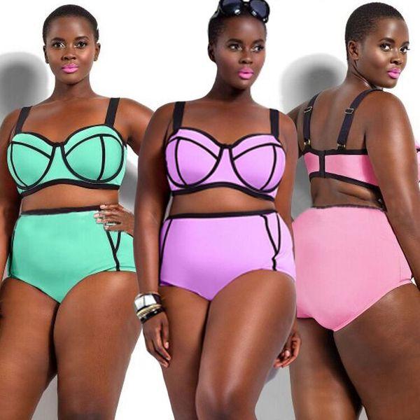 top popular Plus Size sexy bikinis Extra Large Size XL-4XL Swimwear Women summer two Piece Swimsuit Swimwear plus size Big Cup Bathing Suit Monokini 2019
