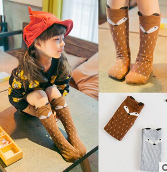 2015 hot sale latest fashion degins cartoon fox kids knee high baby girls socks girl legging socks