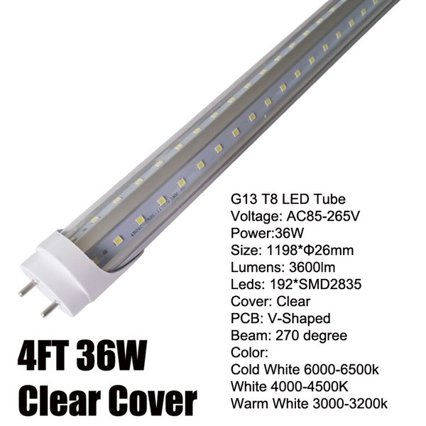4Ft 36W V-Shaped Clear Cover