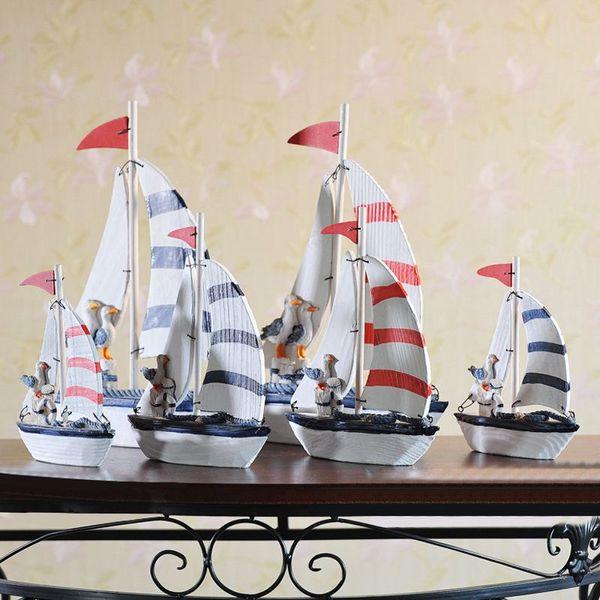 Azul Rojo Madera Saling Modelo de barco Estilo mediterráneo Bote pequeño Hecho a mano Decoración náutica Regalos Artesanía