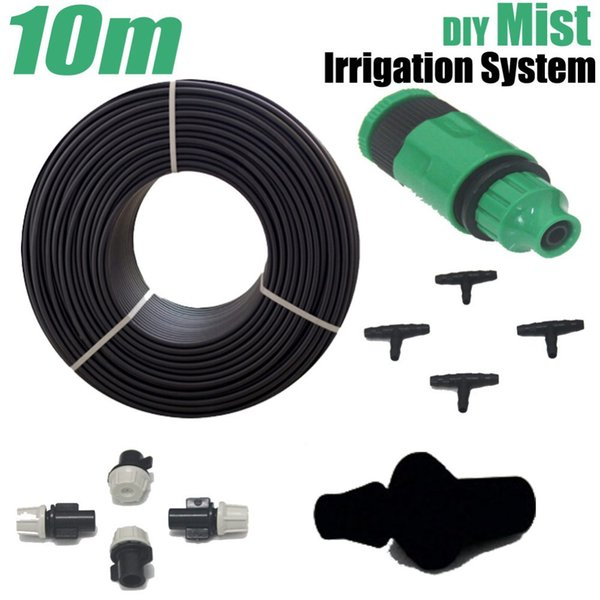 best selling Micro Garden Water System Mist Irrigation Automatic Watering Kits Misting Water Sprinkler 10m Hose+10pcs Sprayer+10pcs Tee Joint