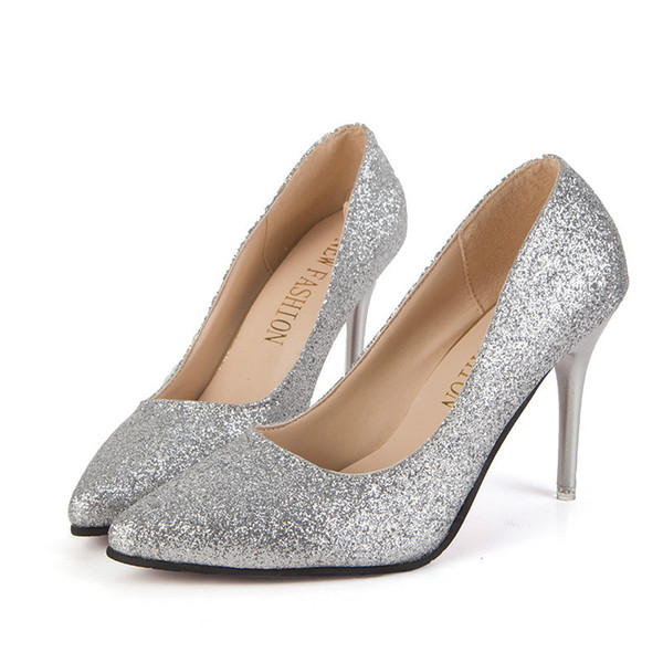 Spring and autumn women high-heeled shoes Pointed toes solid dress shoes sequins heel sleeve shoes heels 6-8cm