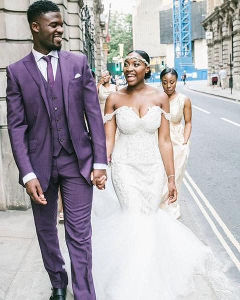 Classic Style One Button Purple Groom Tuxedos Peak Lapel Groomsmen Best Man Blazer Mens Wedding Suits (Jacket+Pants+Vest+Tie) H:623