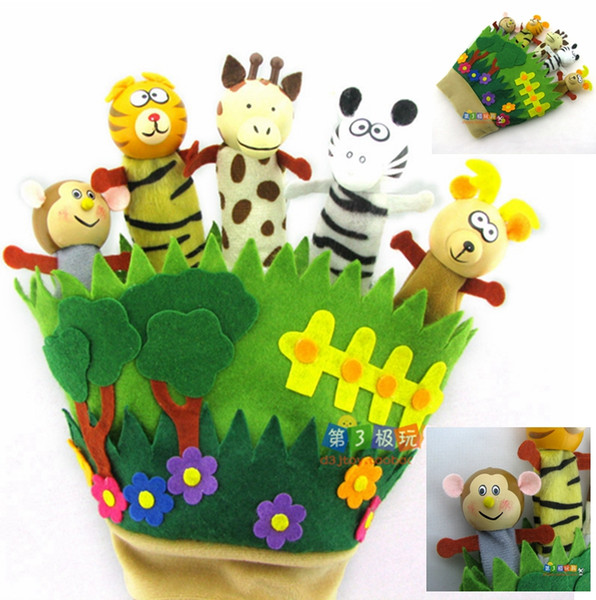 best selling Fedex DHL 150 PCS LOT Wooden & Cloth Animal Forest Glove Finger Puppets Animal Hand Puppets Kids Toys Zebra