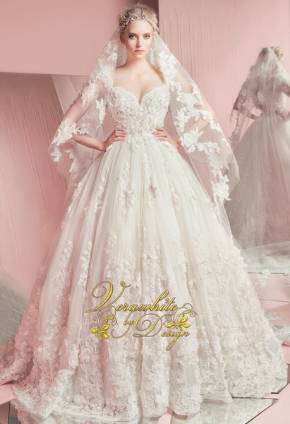 2016 New Spring Zuhair Murad Wedding Dresses Sweetheart Tulle Floor Length Appliqued Lace Ball Gown Wedding Dresses Corset Back BO9709