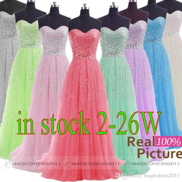 2019 EN STOCK Vestidos de noche de baile con cuentas Sin respaldo A-Line Sweetheart Blanco Gris Azul Lila Verde Rosa Tallas grandes Vestido de fiesta formal largo
