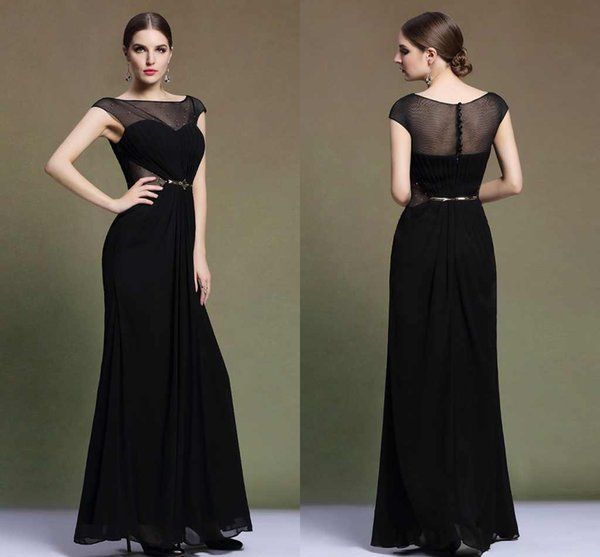 Black Long Chiffon Mother Of Bridal Dresses Sheer Strap Floor Lenght Beads  Evening Formal Gowns Mature Women Dress Prom Long Dress ZYY Plus Size ...
