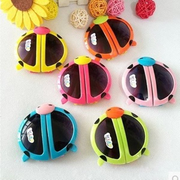 5 colors Sweet Kids sunglasses Cartoons Fold the beatles ladybird Baby children's UV400 Sun glasses best price wholesale