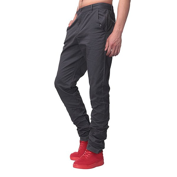 Wholesale- 2017 New Fashion Mens Straight Cargo Pants Chinos Men Casual Business Slim Fit Autumn Spring Solid Color Trousers Brand Clothing