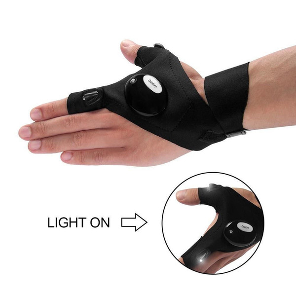 300pcs Free Shipping Outdoor Fishing Magic Strap Fingerless Glove LED Flashlight Torch Cover Survival Camping Hiking Rescue Tool