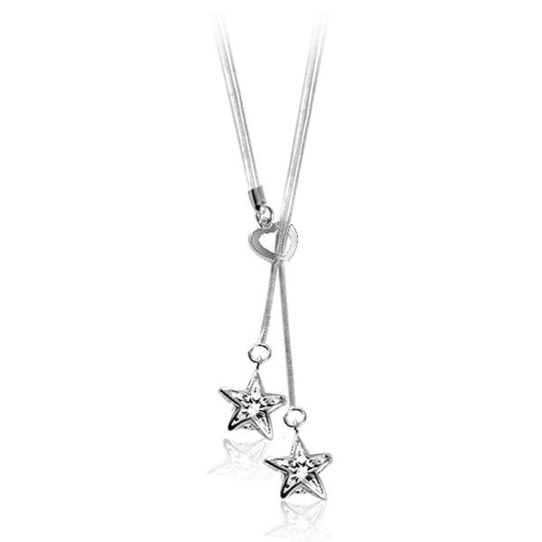 Free shipping fashion high quality 925 silver star with diamond jewelry 925 silver necklace Valentine's Day holiday gifts hot 1423