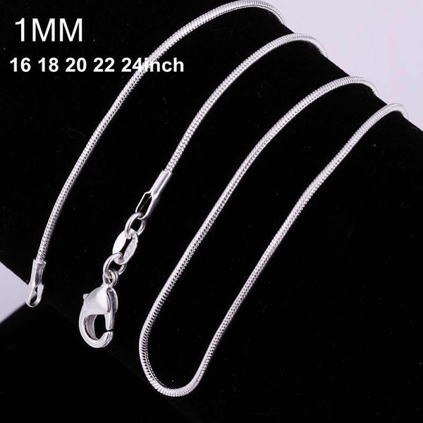 High Quality 925 silver smooth snake chains Necklace 1MM snake chain size 16 18 20 22 24 inch 100pcs lot hot sale