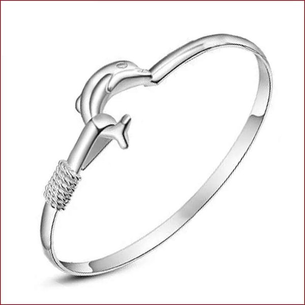 925 sterling silver items jewelry charm bracelets wedding vintage 3 D dolphin shaped mirror face bangle
