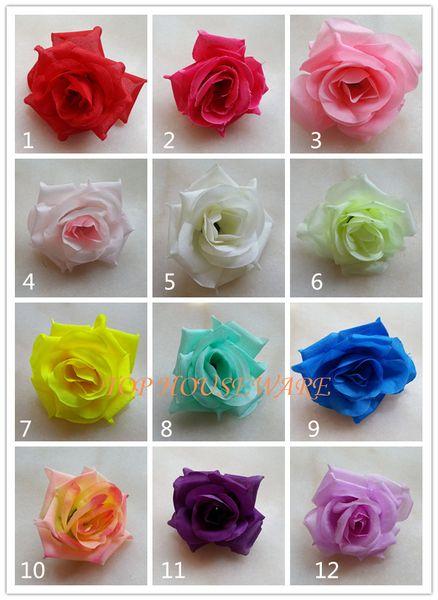 100pcs 8.5cm Artificial Silk Rose Flower Head Rose Flower Ball Heads Brooch Wedding Wall Arch DecorativeFlower