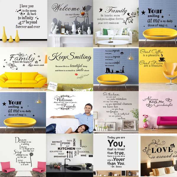 Karışık düzen 180 Stilleri Tırnak Duvar Çıkartmaları Çıkartması Kelimeler Yazı Söyleyen Duvar Dekor Sticker Vinil Duvar Kağıdı Sanat Etiketler Çıkartmaları