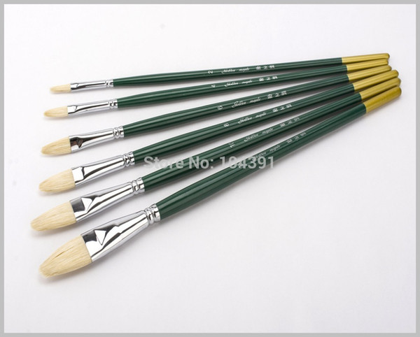 best selling 6pcs set Professional Oil Brushes Chungking Bleached Bristle Hair Oil Paint Brush Set H22 Art Supplies for Painting