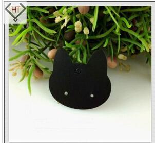 best selling 200pcs 3.7*3.7cm black jewelry earring cards PVC lovely cat design custom earring cards free shipping