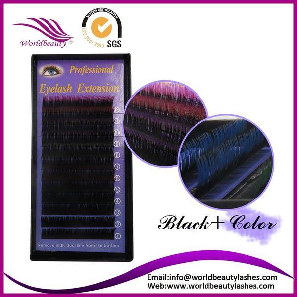 Wholesale- Freeshipping!0.15TH,11mm Professional individual two tone color Silk False Eyelash Extension Black + color Eyelashes