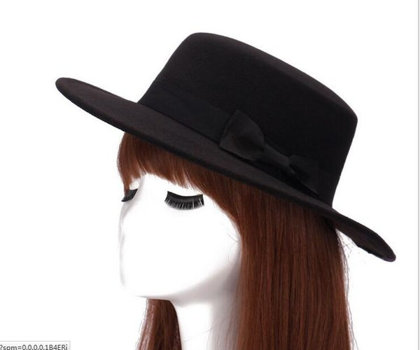 Wholesale-Fashion chapeau femme Vintage fashionable black top felt fedora hat women and men sombrero bowler hats new year gift 57cmm
