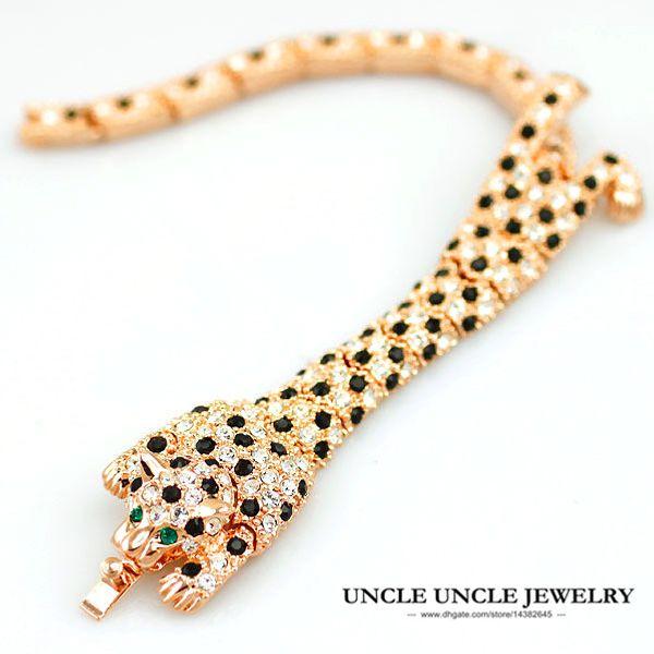 Linda rosa cor de ouro cristal austríaco cravejado de leopardo design de luxo senhora pulseiras atacado
