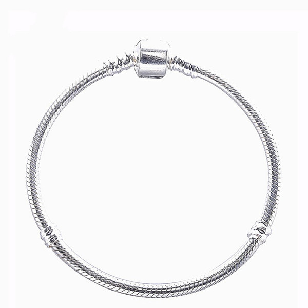 New Authentic 925 Sterling Silver Bracelet With Clasp Clip Charm Bracelets Snake Chain Bracelet DIY Fits European Brand Charm Beads