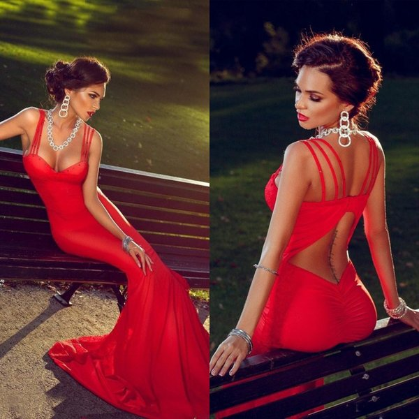 Sexy Hot Open Back Prom Dresses Fitted Mermaid Sweetheart Neckline Spaghetti Straps Backless Long Formal Evening Pageant Gowns Cheap