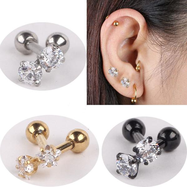 best selling 316L Surgical Steel Clear Gem monroe Labret Lip Ring Ear Earlet Tragus Nail Earrings Stud 16g Cartilage piercings 30pcs set