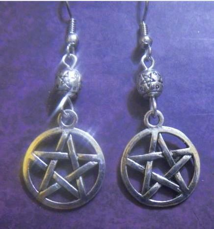 Wholesale Fashion 50 Pair Silver Bail Style Pentacle &Alloy Bead Dangle Earrings For Women With Gift Box DIY Jewelry M2789