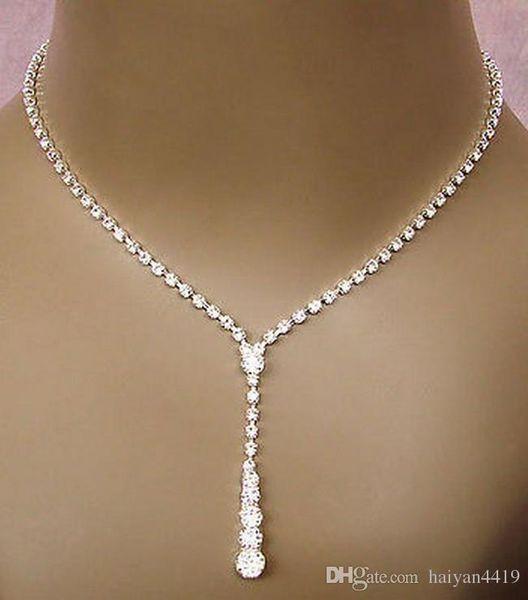 2018 Bling Cristal Nupcial Conjunto de Jóias de prata banhado a ouro colar de diamantes brincos Conjuntos de jóias de Casamento para a noiva Damas de Honra mulheres Acessórios