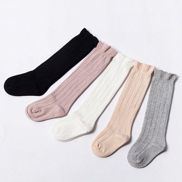 Baby Tube Calze arruffate Calzini alti per bambina uniformi per ginocchio Neonati e bambini Cotone Puro colore 0-3T