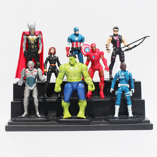 The Avengers Age of Ultron Hulk Thor Iron Man Captain America Hawkeye Black Widow Quicksilver PVC Figure Toys