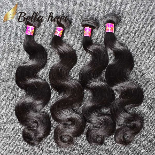 best selling Human Hair Weaves Brazilian Hair Bundles Extensions Body Wave Hair Weaves Weft Cheap Malaysia Peruvian Indian Double Weft 4PC 9A Bellahair