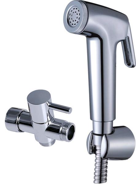 "best selling Bathroom Toilet ABS Handheld Bidet Sprayer Spray Head Brass 7 8"" t-adapter Wall Bracket Stainless Steel 1.5M Hose Chrome Shattaf Shower Set"