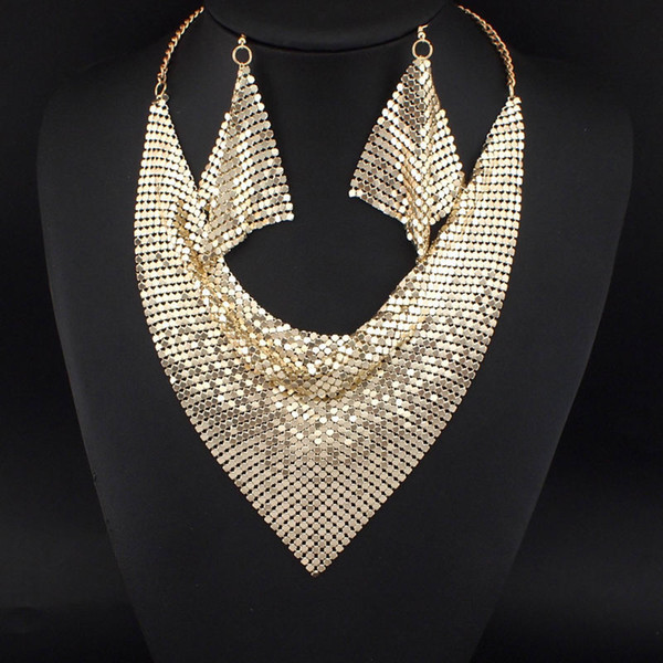 top popular Indian Chic Style Shining Metal Slice Bib Choker Statement Necklaces Matching Earring Party   Wedding Fashion Jewelry Sets #3056 2020