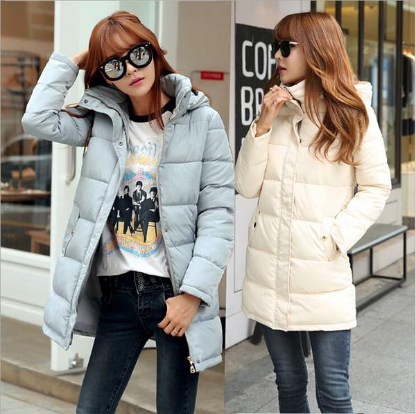 Frau Warme Wintermäntel 2015 Dünne Großhandel Jacken Casual Parkas Lange Korean Reißverschluss Winter Frauen Fashion Rollkragen Hauben Daunenjacke 3Lq5R4Aj