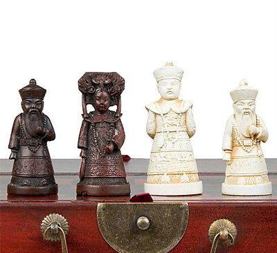 best selling Chinese wood Leather box with 32 Warrior Chess Set Free shipping