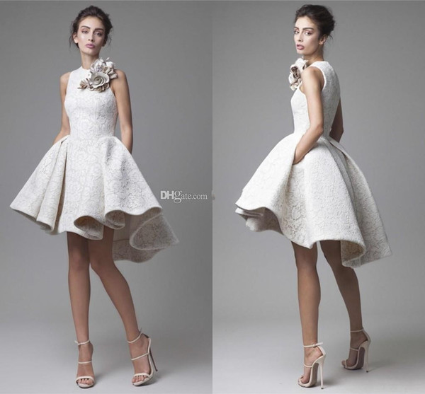 2016 Spring White lace Short Evening Dresses Arabic Dubai Hand Made Floral High Low Prom Gowns Fashion Party Cocktail Dresses