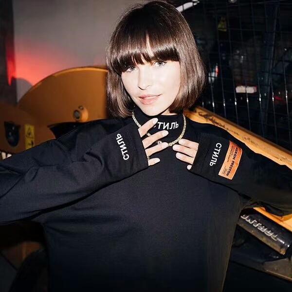 19SS HERON PRESTON Sweatshirt für Männer Hoodies Frauen Pullover Brief Gestickte Armbinden Turtlenec Weiß Langarmhemd Streetwear Schwarz