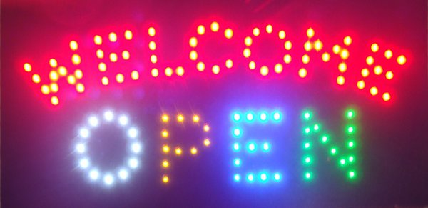 LED Neon Light Open Welcome Sign With Animation On/Off Switchs for Busines of LED