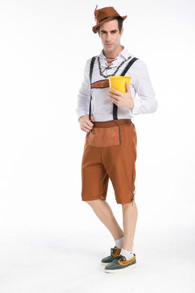 Camisa de vestir Oktoberfest para hombre con traje de tirantes para hombre Juego de roles, escenario Vestuario Mardi Gras Fiesta de carnaval Tamaño S M L XL XXL