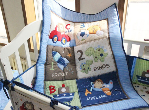 2016 selling! Baby boy bedding set 100% cotton Embroidery car Sea turtles letter Crib bedding set 5Pcs Quilt Bumper Bed skirt Cot bedding