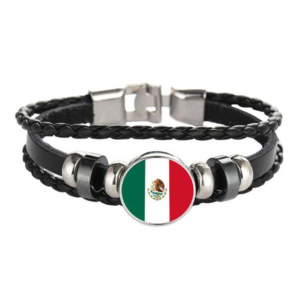 Cuir Bracelet Snap Punk Mexique Luxembourg Roumanie Îles Marshall Drapeau Verre Cabochon Bracelets bracelets Femmes et Hommes Bijoux Vente en gros