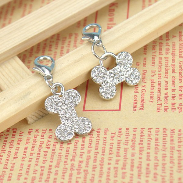 2 Type Bone Shape Pet Safety Tag ID With Czech Diamond Luxury Hotsale Fit Pet Collar&Necklace Key Charms 20PCS/LOT