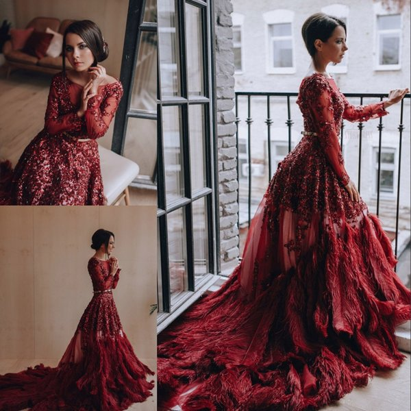 Gorgeous Red Rhinestones Evening Dresses Luxury Feather Sequin Beaded Long Sleeve Evening Gown Stunning Sexy Formal Dress Red Carpet Dress