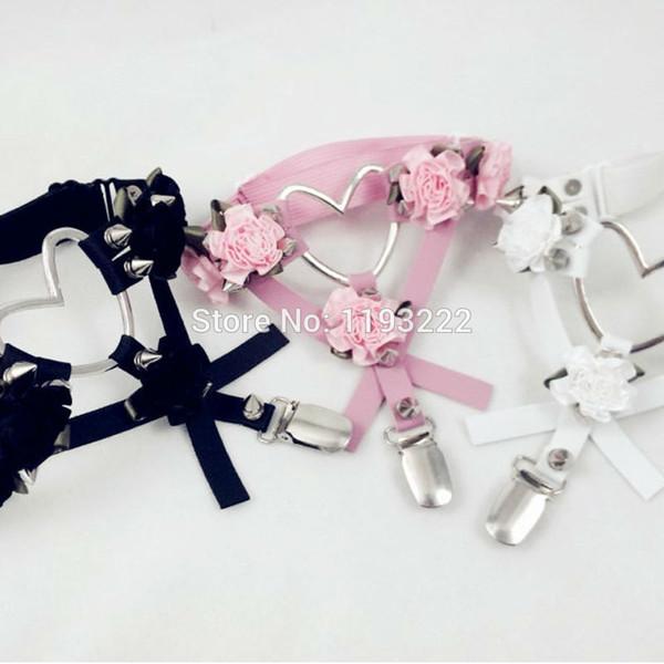 Cute Fashion Designed Leather Thigh Harness, Cross Flower Floral Leg Garter Punk Rock Big Heart Spikes Garter Belt Ring