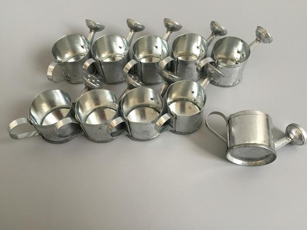 top popular Galvanized Watering cans for small plant Decorative Silvery toy watering cans wedding favor holders candy holders 2021