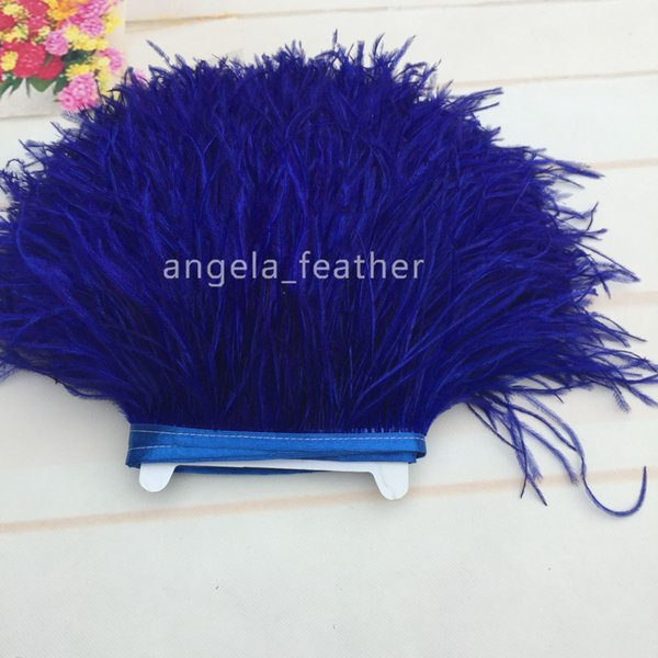 Factory Direct 10 yards/lot Royal Blue Ostrich Feather Trimming Fringe 5-6inch/12-15cm dress decoration party supplies