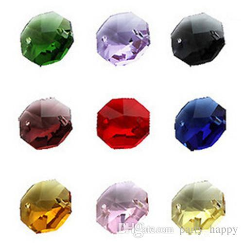 Octagon Beads Double Holes A Variety Of Colors Crystal Bead Curtain Crystalline Light Scattered Beads Adornment DIY Diamonds Crystals Party